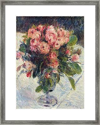 Moss Roses Framed Print by Pierre Auguste Renoir