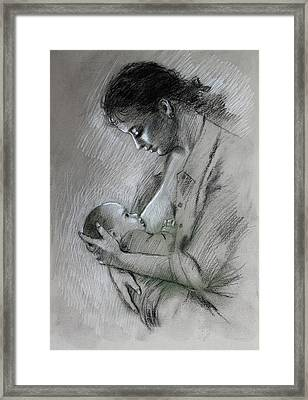 Mother And Baby Framed Print by Viola El