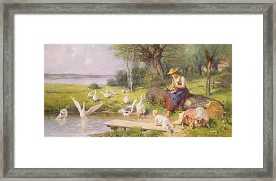 Mother And Child With Geese Framed Print by Adolf Ernst Meissner