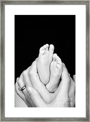 Mother And Son Hands And Feet Framed Print by Jane Rix