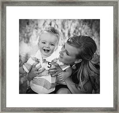 Mother And Son Laughing Together Framed Print by Daniel Sicolo