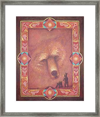 Mother Bear Framed Print by Kevin Chasing Wolf Hutchins