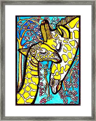 Mother Giraffe With Baby Framed Print by Judy Moon
