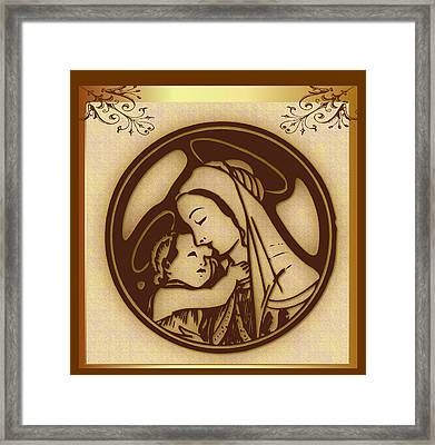 Mother Mary And Child Framed Print by Mario Carini
