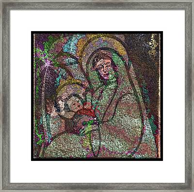 Mother Mary And Christ Framed Print by Mario Carini