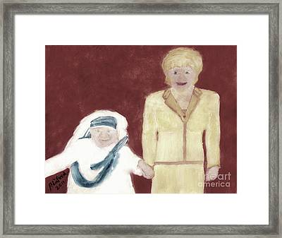 Mother Teresa And Princess Diana In Heaven 3 Framed Print by Richard W Linford
