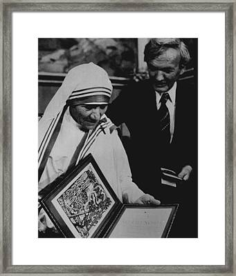 Mother Teresa Gets Award Framed Print by Retro Images Archive