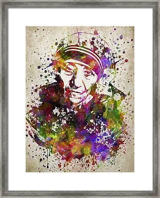 Mother Teresa In Color Framed Print by Aged Pixel