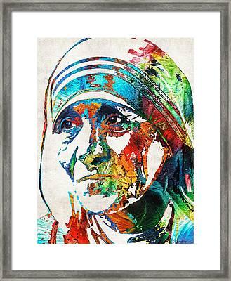 Mother Teresa Tribute By Sharon Cummings Framed Print by Sharon Cummings