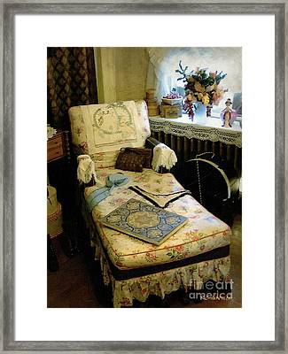 Mother's Chintz Chaise In The Corner Framed Print by RC deWinter