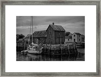 Motif Number 1 - Rockport Harbor Bw Framed Print by Stephen Stookey