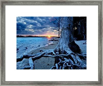 Motivational Landscape-faith Hope Overcome-tree Sunset Framed Print by Eszra Tanner