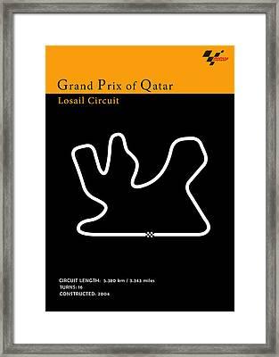 Moto Gp Qatar Framed Print by Mark Rogan