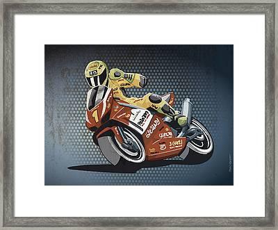 Motorbike Racing Grunge Color Framed Print by Frank Ramspott