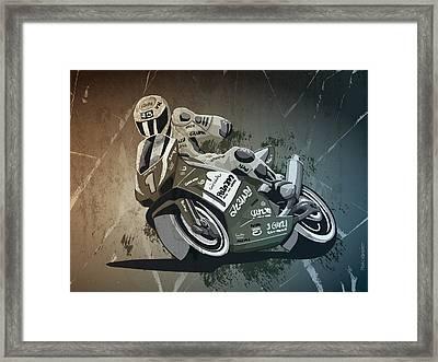 Motorbike Racing Grunge Monochrome Framed Print by Frank Ramspott