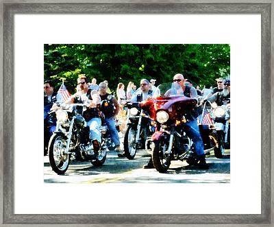 Motorcycle Club Framed Print by Susan Savad