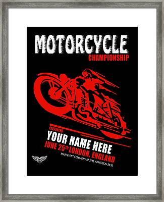 Motorcycle Customized Poster 2 Framed Print by Mark Rogan