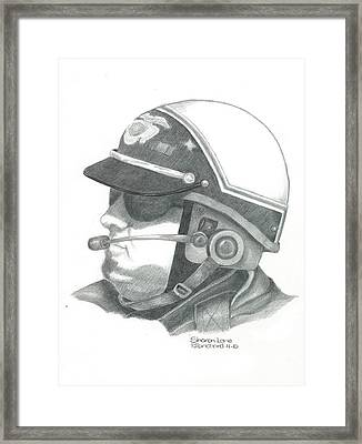 Motorcycle Officer On The Job Framed Print by Sharon Blanchard