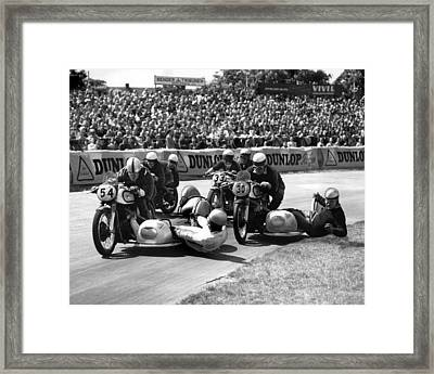 Motorcycle With Side Car Race Spill Framed Print by Retro Images Archive