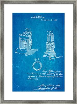 Mott Stove Patent Art 1836 Blueprint Framed Print by Ian Monk