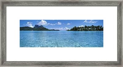 Motu And Lagoon, Bora Bora, Society Framed Print by Panoramic Images