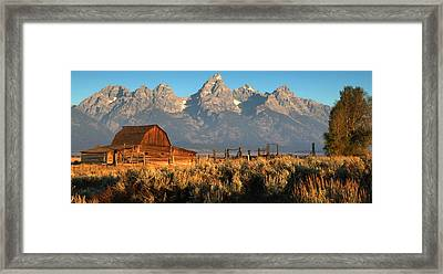 Moulton Barn - The Tetons Framed Print by Stephen  Vecchiotti