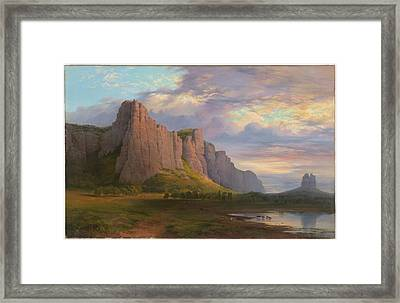 Mount Arapiles And The Mitre Rock Framed Print by Nicholas Chevalier