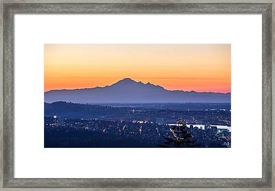 Mount Baker Sunrise From West Vancouver Framed Print by Pierre Leclerc Photography