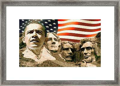 Obama Mount Rushmore Framed Print by Art America Online Gallery