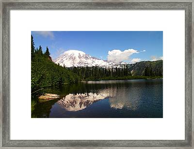 Mount Rainer From Bench Lake Framed Print by Jeff Swan