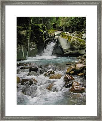 Mount Rainier Falls Framed Print by John Haldane