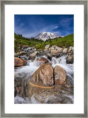 Mount Rainier Glacial Flow Framed Print by Adam Romanowicz