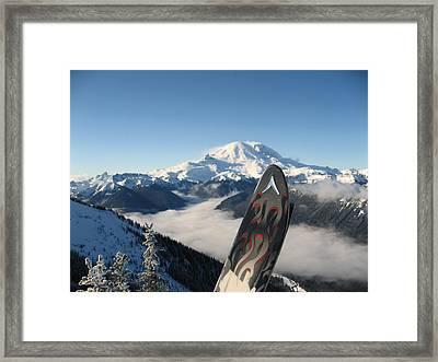Mount Rainier Has Skis Framed Print by Kym Backland