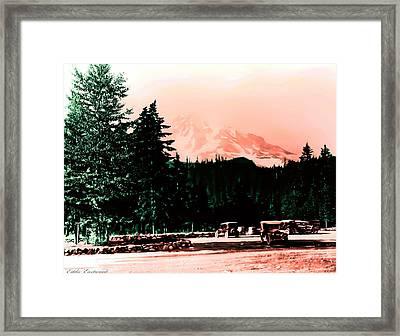 Mount Rainier With Vintage Cars Early 1900 Era... Framed Print by Eddie Eastwood