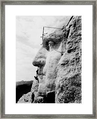 Mount Rushmore Construction Photo Framed Print by War Is Hell Store