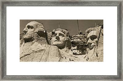 Mount Rushmore Construction Framed Print by Underwood Archives