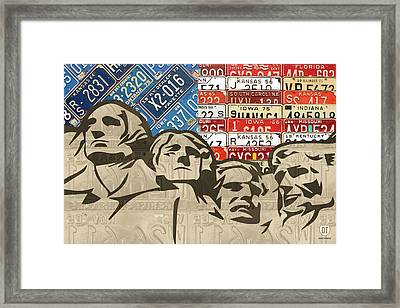 Mount Rushmore Monument Vintage Recycled License Plate Art Framed Print by Design Turnpike