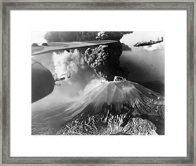 Mount Vesuvius Erupting Framed Print by Us Air Force