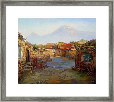 Mountain Ararat And The Old Part Of Yerevan. Framed Print by Meruzhan Khachatryan