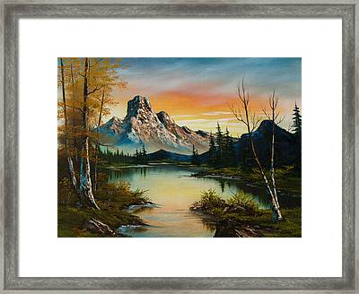 Sunset Lake Framed Print by C Steele