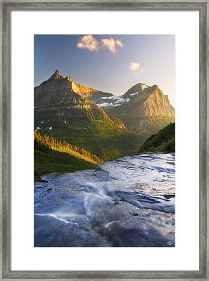 Mountain Cascade Framed Print by Peter Coskun