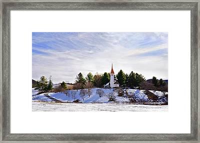 Mountain Church In Winter Framed Print by Susan Leggett