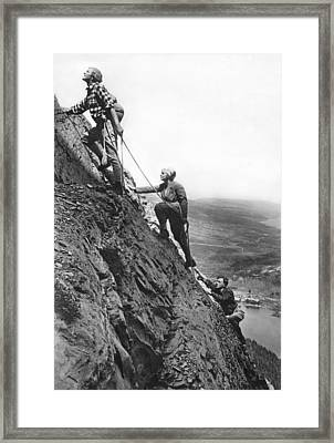 Mountain Climbing In Glacier Framed Print by Underwood Archives