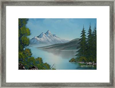Mountain Lake Painting A La Bob Ross Framed Print by Bruno Santoro