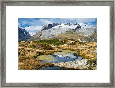 Mountain Landscape Water Reflection Swiss Alps Framed Print by Matthias Hauser