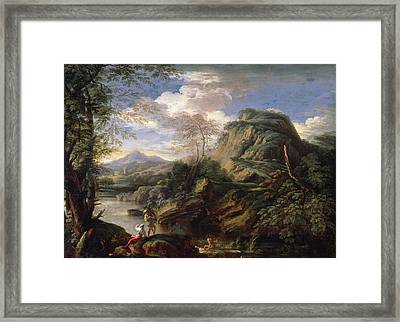 Mountain Landscape With Figures Framed Print by Salvator Rosa