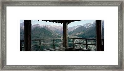 Mountain Range From A Balcony Framed Print by Panoramic Images