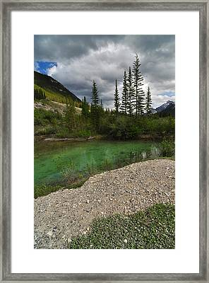 Mountain Scene Near A Small Pond In Kananaskis Country Alberta Canada Framed Print by Michael Mckinney