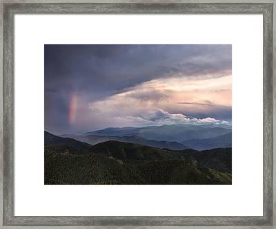 Mountain Storm And Rainbow Framed Print by Leland D Howard