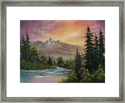 Mountain Sunset Framed Print by C Steele